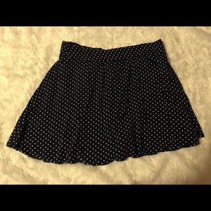 Dark blue polka dot mini skirt